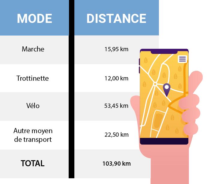 Répartition kilométrique des modes de déplacements