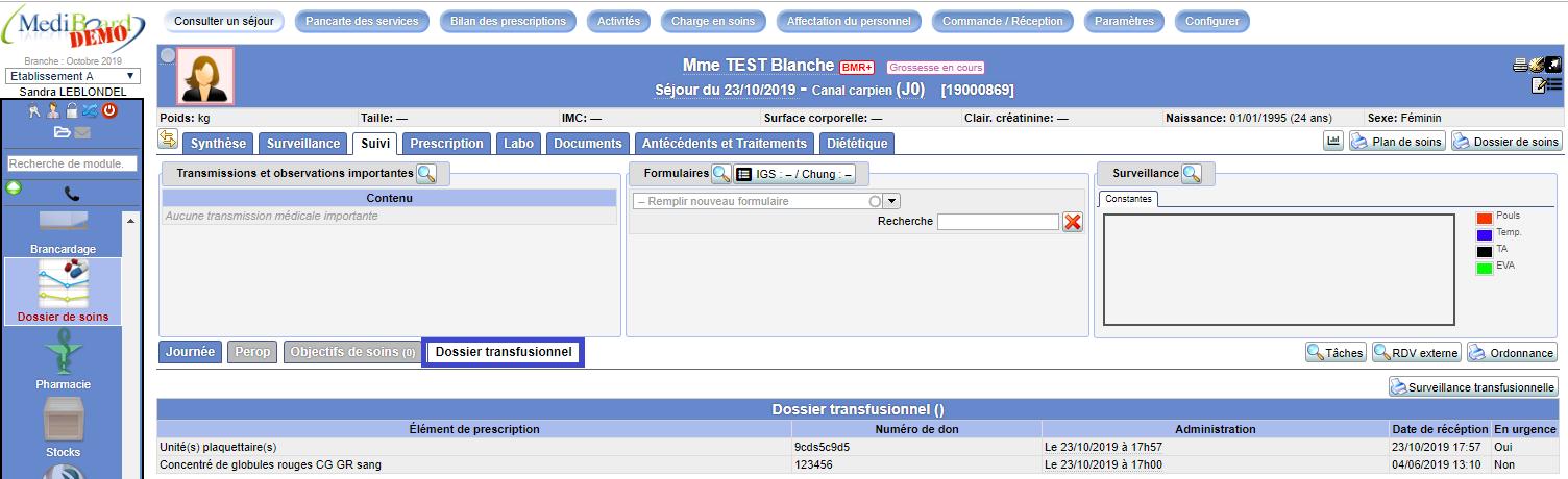 Dossier transfusionnel dans Mediboard