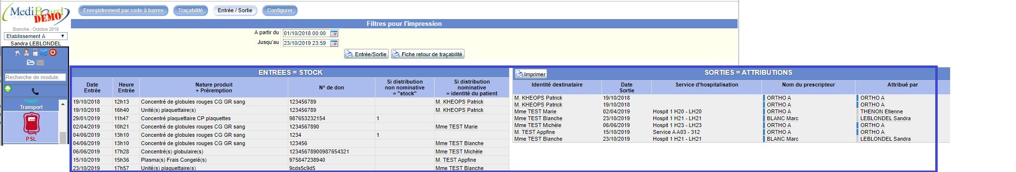 Traçabilité des entrées et des sorties dans Mediboard